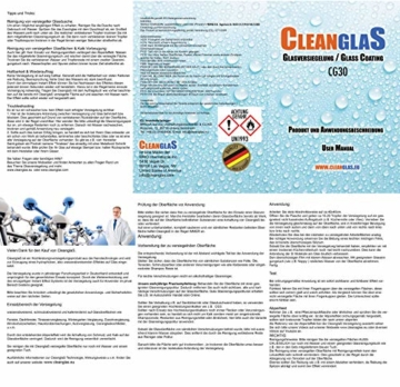 Cleanglas Nanoversiegelung Dusche Bad Fenster Set S Glasversiegelung Inkl. Glasreiniger Dusche Stark Kein Abzieher nötig Nano Glas Versiegelung Fenster Putzen Mit Lotuseffekt (S bis zu 24m2) - 8