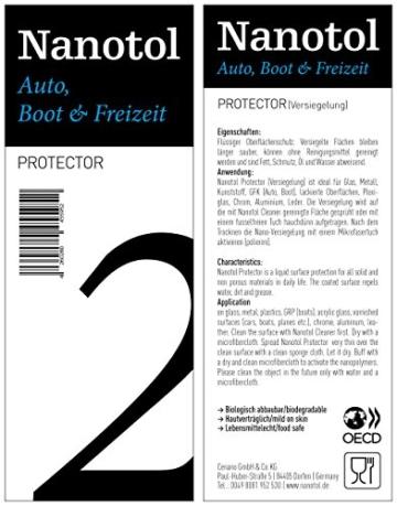 Nanotol Auto, Boot, Freizeit Protector 250 ml (40 m²) - Nanoversiegelung (Step 2) für Lack, Felgen, Autoglas - Glanzversiegelung Lackpflege Lotuseffekt Keramik-Polymer-Hybrid-Beschichtung - 8